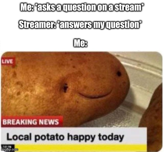 Relatable |  Streamer: *answers my question*; Me: *asks a question on a stream*; Me: | image tagged in local potato happy,streams,streamer | made w/ Imgflip meme maker