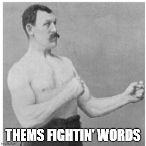 fightin words |  THEMS FIGHTIN' WORDS | image tagged in memes,overly manly man | made w/ Imgflip meme maker