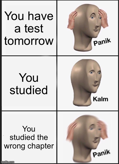 This happened to me once. |  You have a test tomorrow; You studied; You studied the wrong chapter | image tagged in memes,panik kalm panik,test,studying | made w/ Imgflip meme maker