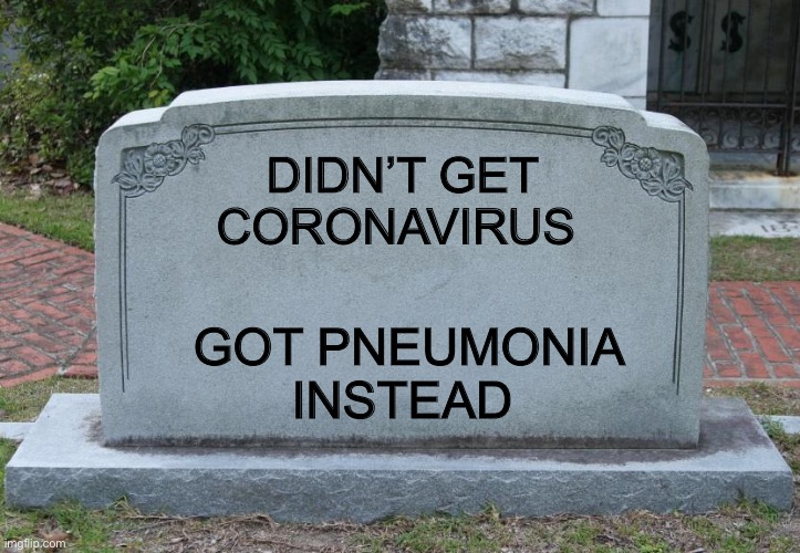 Gravestone | DIDN'T GET CORONAVIRUS GOT PNEUMONIA INSTEAD | image tagged in gravestone | made w/ Imgflip meme maker