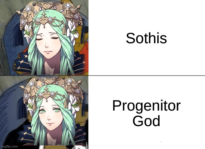 I hope this (Fire Emblem) meme hasn't been done yet |  Sothis; Progenitor God | image tagged in memes,tuxedo winnie the pooh,fire emblem,fe3h,fire emblem three houses,rhea | made w/ Imgflip meme maker