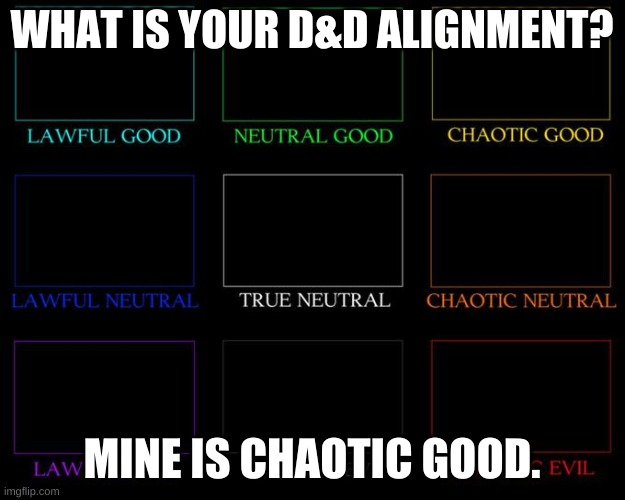 Alignment Chart |  WHAT IS YOUR D&D ALIGNMENT? MINE IS CHAOTIC GOOD. | image tagged in alignment chart | made w/ Imgflip meme maker