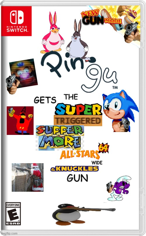 Pingu Game |  GUN; THE; GETS; WIDE; GUN | image tagged in nintendo switch | made w/ Imgflip meme maker