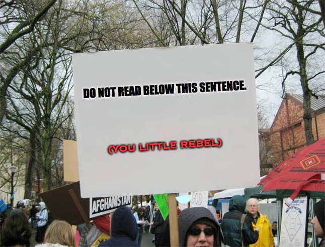 Blank protest sign |  DO NOT READ BELOW THIS SENTENCE. (YOU LITTLE REBEL) | image tagged in blank protest sign | made w/ Imgflip meme maker