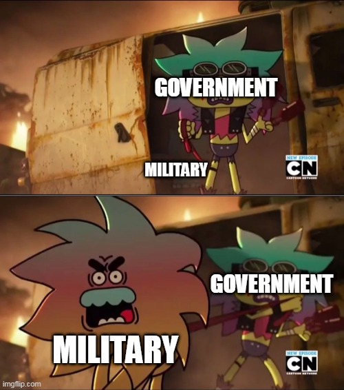 The Military In A Nutshell |  GOVERNMENT; MILITARY; GOVERNMENT; MILITARY | image tagged in a beast on a leash,the beast on a leash,beast on a leash,government,military,politics | made w/ Imgflip meme maker