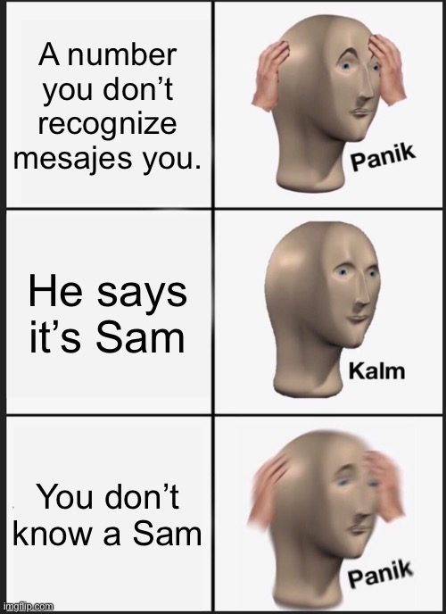 Who's Sam? |  A number you don't recognize mesajes you. He says it's Sam; You don't know a Sam | image tagged in memes,panik kalm panik | made w/ Imgflip meme maker