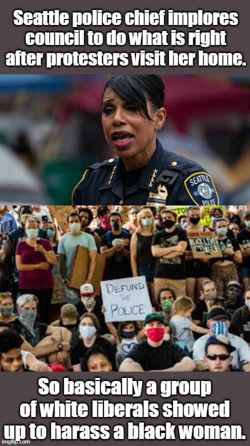BLM is not about black lives. It is about white communism. |  Seattle police chief implores council to do what is right after protesters visit her home. So basically a group of white liberals showed up to harass a black woman. | image tagged in blm,seattle,chief,democrats,liberals,racists | made w/ Imgflip meme maker