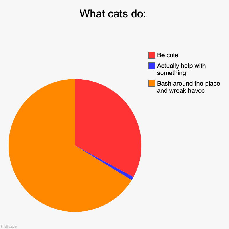 What cats do: | Bash around the place and wreak havoc, Actually help with something, Be cute | image tagged in charts,pie charts | made w/ Imgflip chart maker
