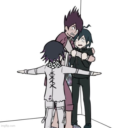 I have found this | image tagged in t-posing kokichi traps kaito and shuichi | made w/ Imgflip meme maker