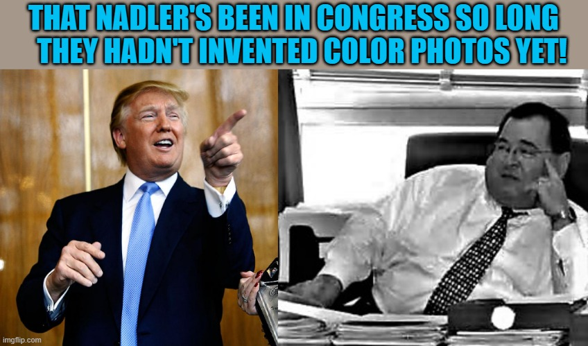 Trump says Nadler's been in Congress too long |  THAT NADLER'S BEEN IN CONGRESS SO LONG    THEY HADN'T INVENTED COLOR PHOTOS YET! | image tagged in political meme,trump,donald trump,nadler,congress,democrats | made w/ Imgflip meme maker