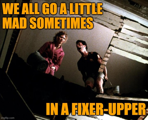 Psycho Money Pit |  WE ALL GO A LITTLE MAD SOMETIMES; IN A FIXER-UPPER | image tagged in movie quotes,psycho,money pit,life lessons,lol memes,funny | made w/ Imgflip meme maker