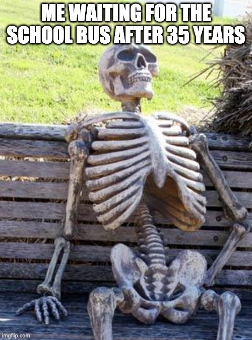 Waiting Skeleton |  ME WAITING FOR THE SCHOOL BUS AFTER 35 YEARS | image tagged in memes,waiting skeleton | made w/ Imgflip meme maker