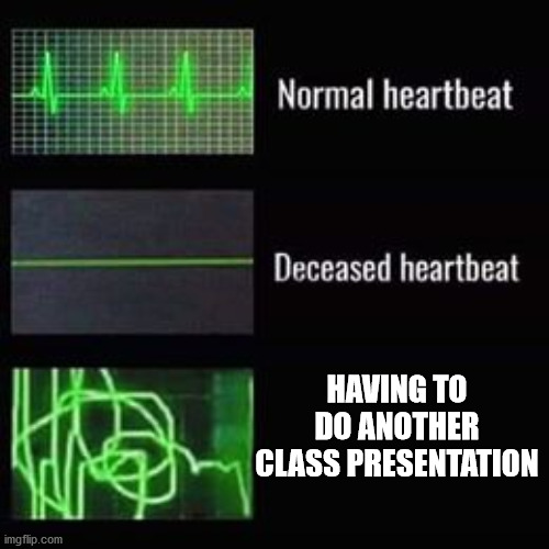 heartbeat rate |  HAVING TO DO ANOTHER CLASS PRESENTATION | image tagged in heartbeat rate,class,presentation,school,awkward,public speaking | made w/ Imgflip meme maker
