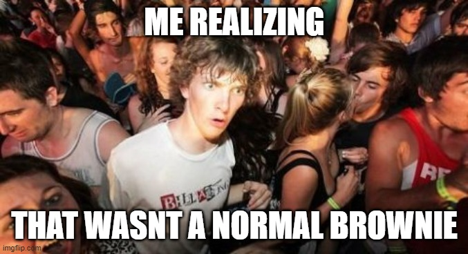 Sudden Clarity Clarence Meme |  ME REALIZING; THAT WASNT A NORMAL BROWNIE | image tagged in memes,sudden clarity clarence | made w/ Imgflip meme maker