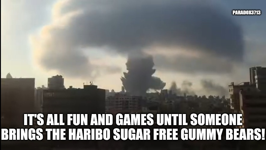 Well you didn't really think it was a fireworks factory, did you?  Oh, you did?  That's so sweet. |  PARADOX3713; IT'S ALL FUN AND GAMES UNTIL SOMEONE BRINGS THE HARIBO SUGAR FREE GUMMY BEARS! | image tagged in memes,funny,nuclear explosion,prank,gummy bears,epic fail | made w/ Imgflip meme maker