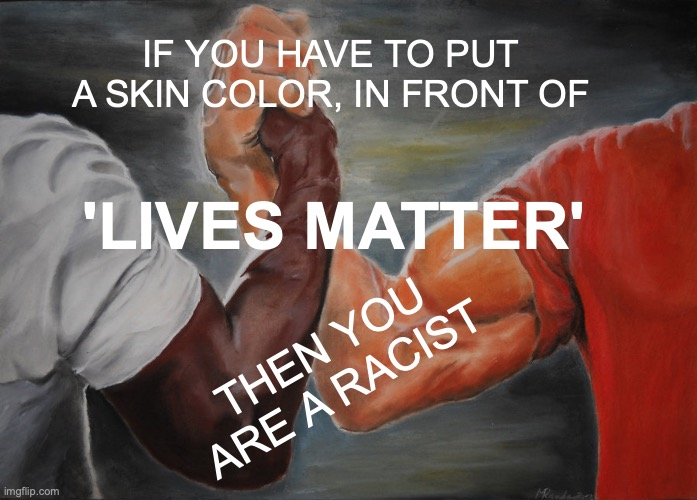 All Lives Matter |  IF YOU HAVE TO PUT A SKIN COLOR, IN FRONT OF; 'LIVES MATTER'; THEN YOU ARE A RACIST | image tagged in memes,epic handshake,all lives matter | made w/ Imgflip meme maker