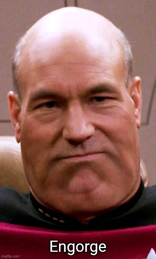 Fat Picard |  Engorge | image tagged in fat picard,star trek the next generation,star trek,memes,captain picard | made w/ Imgflip meme maker