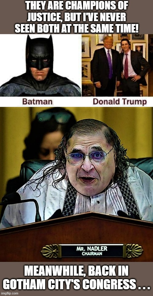 Trump is Batman and Nadler is Mr Penguin |  THEY ARE CHAMPIONS OF JUSTICE, BUT I'VE NEVER SEEN BOTH AT THE SAME TIME! MEANWHILE, BACK IN GOTHAM CITY'S CONGRESS . . . | image tagged in political meme,donald trump,nadler,batman,penguin,congress | made w/ Imgflip meme maker