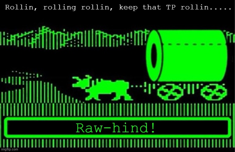 You have died of coronavirus | Rollin, rolling rollin, keep that TP rollin..... Raw-hind! | image tagged in you have died of coronavirus | made w/ Imgflip meme maker