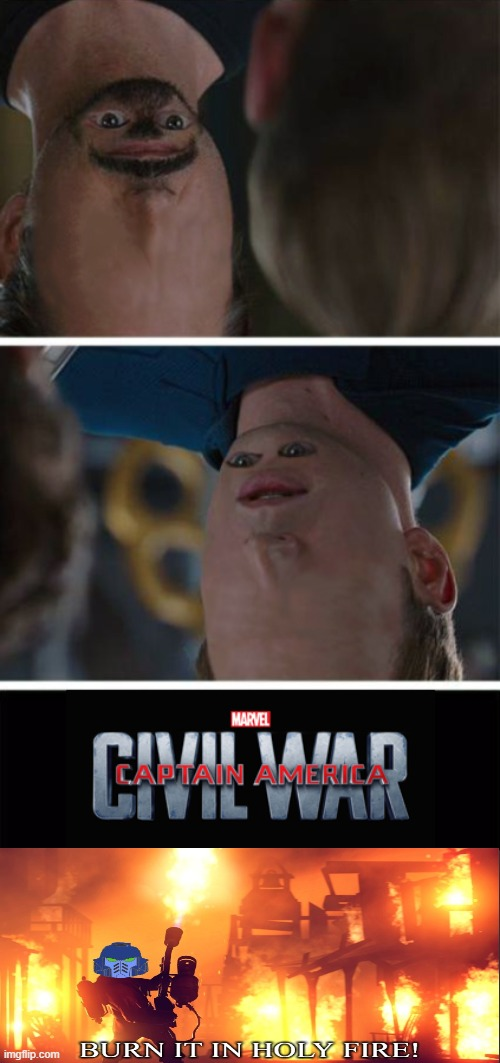 KILL IT! | image tagged in marvel civil war imgflipped,unsee,burn it in holy fire,kill it with fire,iron man,captain america | made w/ Imgflip meme maker