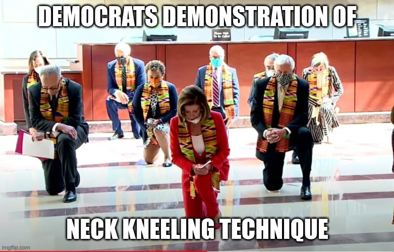 If you're going to do something, do it right |  DEMOCRATS DEMONSTRATION OF; NECK KNEELING TECHNIQUE | image tagged in pelosi kneeling | made w/ Imgflip meme maker
