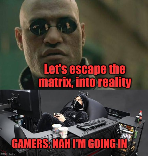 Enter the matrix |  Let's escape the matrix, into reality; GAMERS: NAH I'M GOING IN | image tagged in memes,matrix morpheus,gamers,gaming,fantasy,reality | made w/ Imgflip meme maker