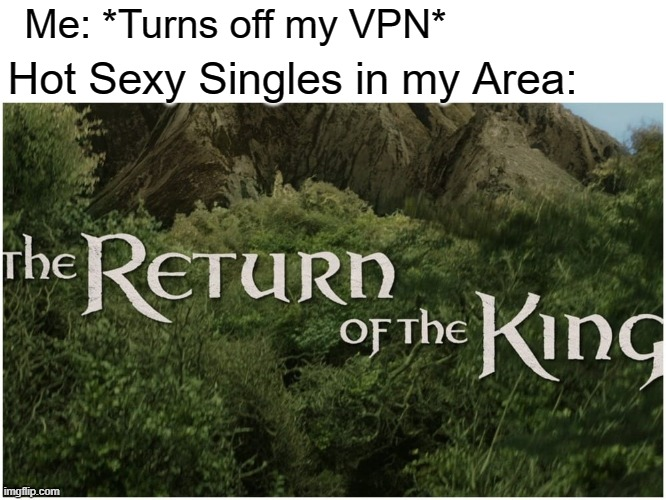HE'S BACK |  Me: *Turns off my VPN*; Hot Sexy Singles in my Area: | image tagged in memes,funny,lord of the rings,return of the king | made w/ Imgflip meme maker