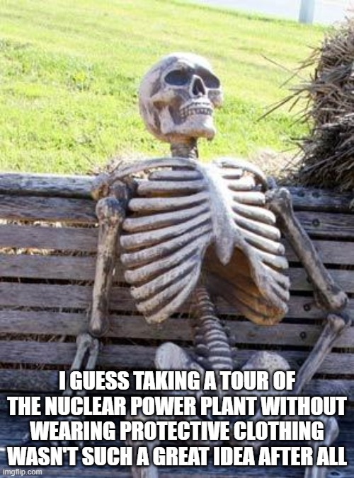 Waiting Skeleton |  I GUESS TAKING A TOUR OF THE NUCLEAR POWER PLANT WITHOUT WEARING PROTECTIVE CLOTHING WASN'T SUCH A GREAT IDEA AFTER ALL | image tagged in memes,waiting skeleton | made w/ Imgflip meme maker