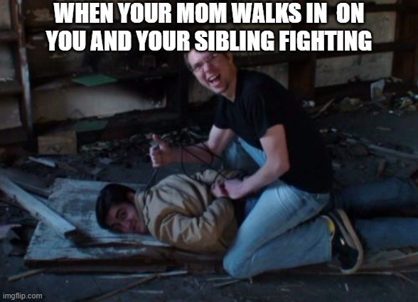 When ur mom walks in on u and ur sibling fighting |  WHEN YOUR MOM WALKS IN  ON YOU AND YOUR SIBLING FIGHTING | image tagged in sibling rivalry,mom,that awkward moment | made w/ Imgflip meme maker