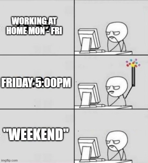 Life These Days | image tagged in quarantine,home alone,work,weekend | made w/ Imgflip meme maker