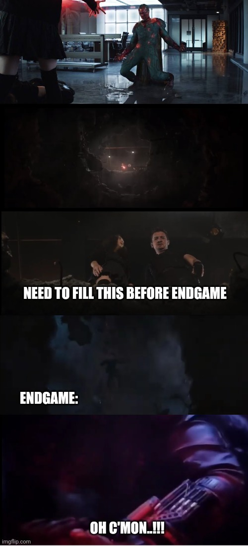 Lol memes |  NEED TO FILL THIS BEFORE ENDGAME; ENDGAME:; OH C'MON..!!! | image tagged in captain america civil war,avengers endgame,hawkeye | made w/ Imgflip meme maker