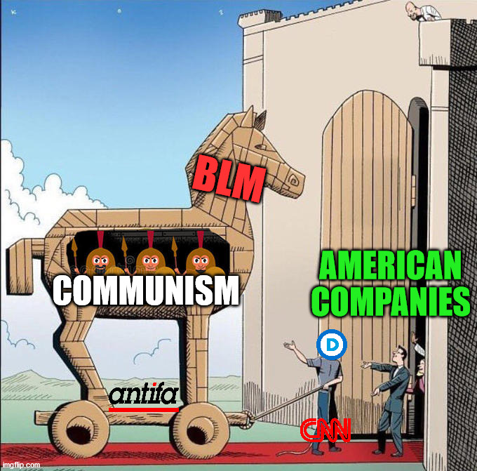 When you really look inside, you can see what they are hiding. |  BLM; COMMUNISM; AMERICAN COMPANIES | image tagged in trojan horse,blm,communism,america,antifa | made w/ Imgflip meme maker