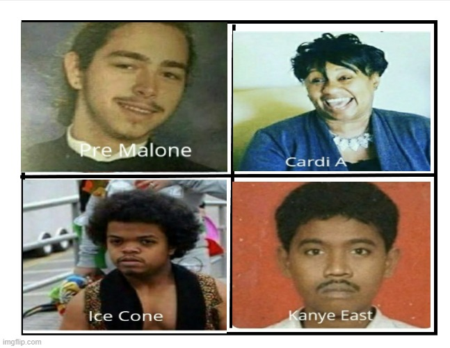 four horsmen of hip hop | image tagged in cardi b,kanye west,ice cube,post malone | made w/ Imgflip meme maker