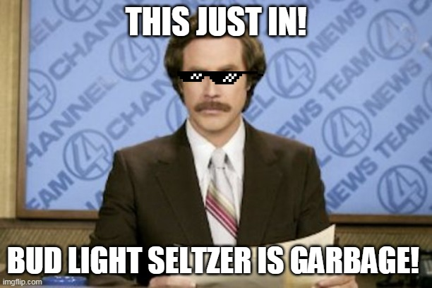 Ron Burgundy |  THIS JUST IN! BUD LIGHT SELTZER IS GARBAGE! | image tagged in memes,ron burgundy | made w/ Imgflip meme maker
