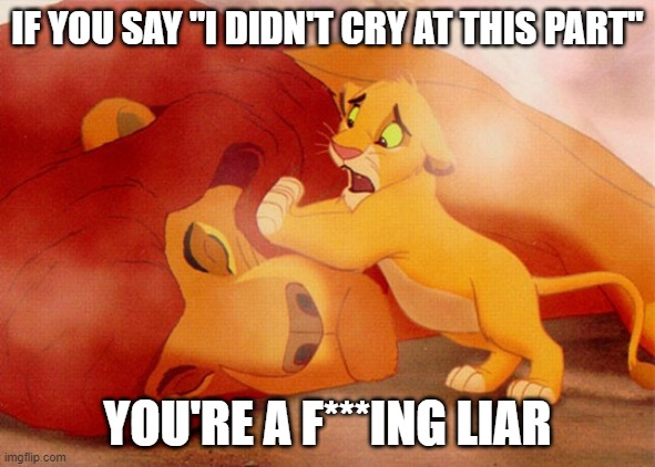 "You know you did |  IF YOU SAY ""I DIDN'T CRY AT THIS PART""; YOU'RE A F***ING LIAR 
