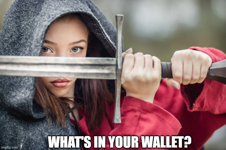 Woman with sword |  WHAT'S IN YOUR WALLET? | image tagged in woman with sword,commercial,slogan,capital one,joke | made w/ Imgflip meme maker