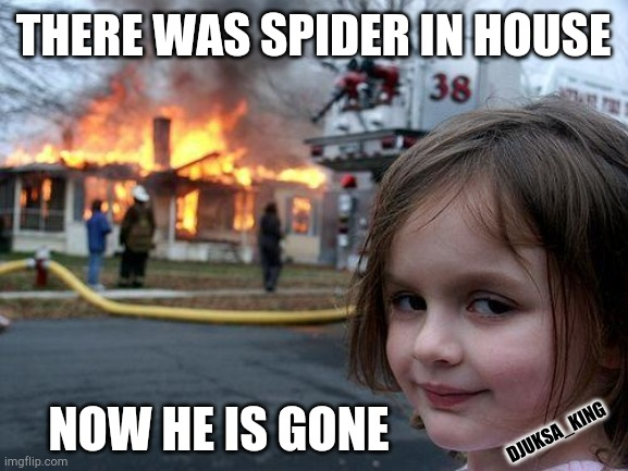 Disaster Girl |  THERE WAS SPIDER IN HOUSE; NOW HE IS GONE; DJUKSA_KING | image tagged in memes,disaster girl | made w/ Imgflip meme maker