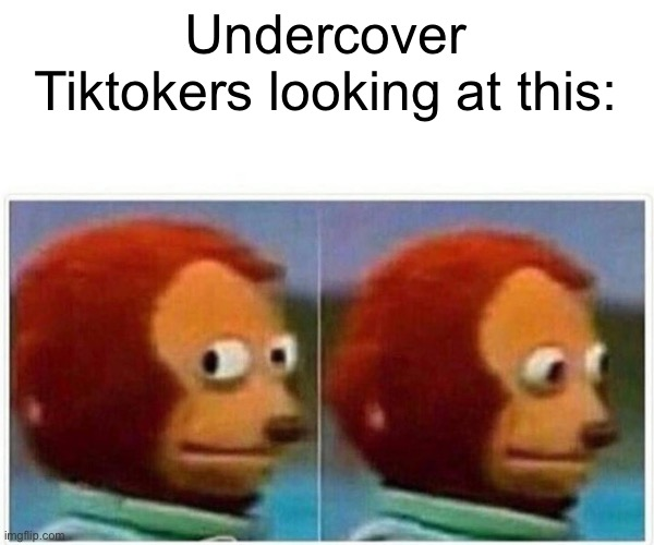 Undercover Tiktokers looking at this: | image tagged in memes,monkey puppet | made w/ Imgflip meme maker
