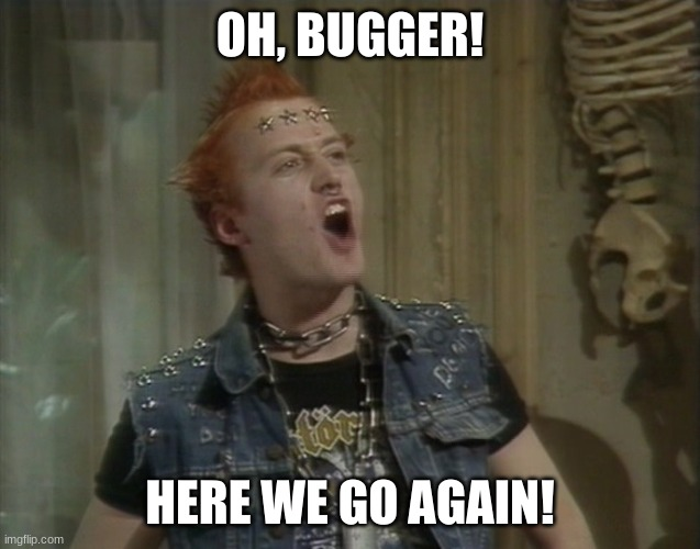 OH, BUGGER! HERE WE GO AGAIN! | image tagged in vyvyan young ones | made w/ Imgflip meme maker