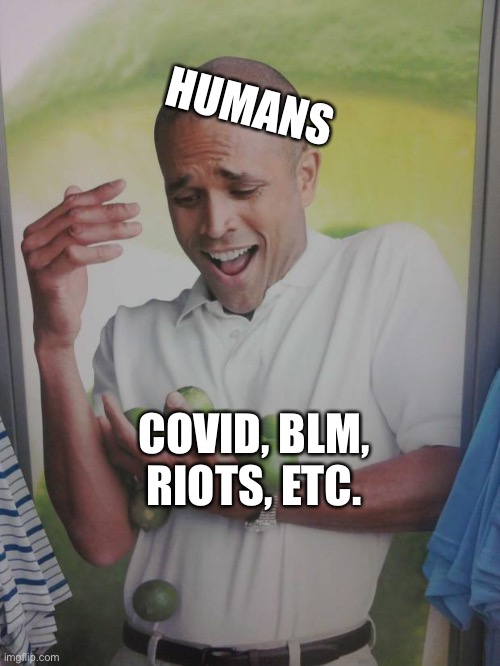 2020 |  HUMANS; COVID, BLM, RIOTS, ETC. | image tagged in memes,why can't i hold all these limes | made w/ Imgflip meme maker