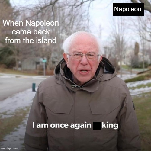 Dong Ding I'm back and I'm king |  Napoleon; When Napoleon came back from the island | image tagged in memes,bernie i am once again asking for your support,historical meme | made w/ Imgflip meme maker