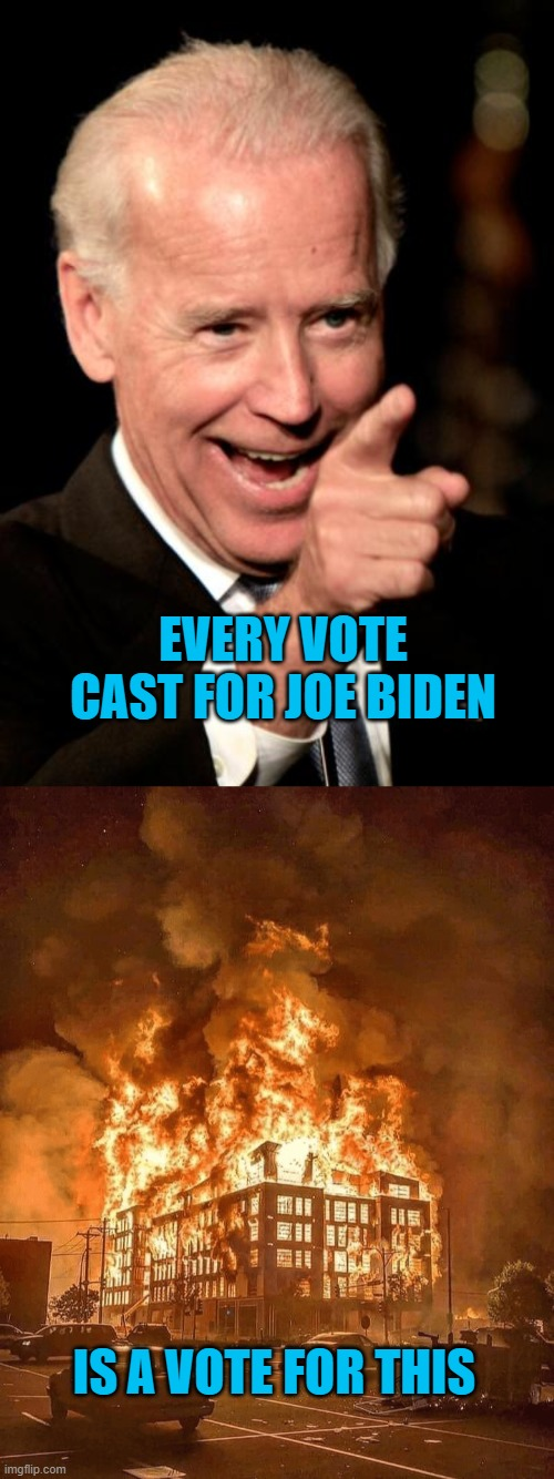 Do not be decieved. |  EVERY VOTE CAST FOR JOE BIDEN; IS A VOTE FOR THIS | image tagged in memes,smilin biden,minneapolis burns,democrat hypocrisy,red pill | made w/ Imgflip meme maker