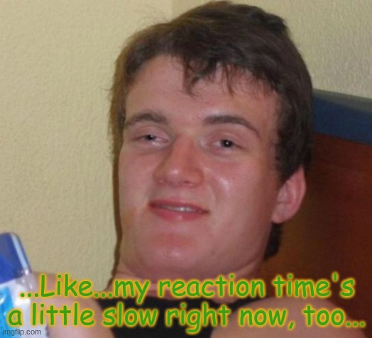 ...Like...my reaction time's a little slow right now, too... | image tagged in memes,10 guy | made w/ Imgflip meme maker