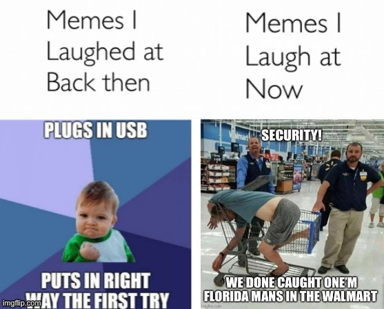 Memes Then and Now - Walmart | image tagged in memes i laughed at then vs memes i laugh at now,walmart,stupid people,florida man,people of walmart,old memes | made w/ Imgflip meme maker