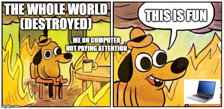 This is Fine (Blank) |  THE WHOLE WORLD (DESTROYED); THIS IS FUN; ME ON COMPUTER NOT PAYING ATTENTION | image tagged in this is fine blank | made w/ Imgflip meme maker