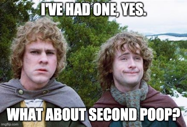 Second Breakfast |  I'VE HAD ONE, YES. WHAT ABOUT SECOND POOP? | image tagged in second breakfast,AdviceAnimals | made w/ Imgflip meme maker