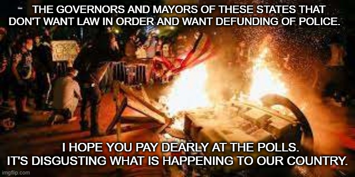 THE GOVERNORS AND MAYORS OF THESE STATES THAT DON'T WANT LAW IN ORDER AND WANT DEFUNDING OF POLICE. I HOPE YOU PAY DEARLY AT THE POLLS. IT'S DISGUSTING WHAT IS HAPPENING TO OUR COUNTRY. | image tagged in police,riots | made w/ Imgflip meme maker
