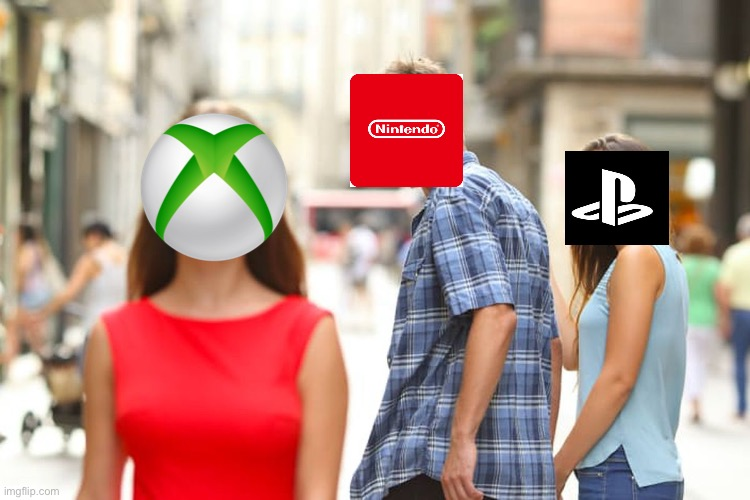 Hi | image tagged in memes,distracted boyfriend,videogames,xbox,playstation,nintendo | made w/ Imgflip meme maker