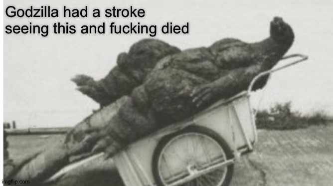 Dead godzilla | Godzilla had a stroke seeing this and fucking died | image tagged in dead godzilla | made w/ Imgflip meme maker