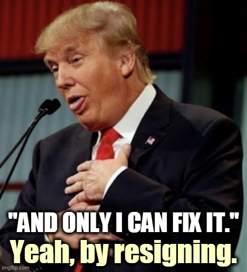 "Trump can't fix anything. He never has and he never will. He doesn't know how. |  ""AND ONLY I CAN FIX IT.""; Yeah, by resigning. 
